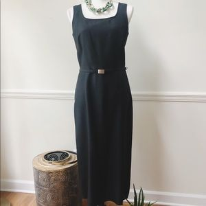 Ann Taylor black silk shantung belted dress.